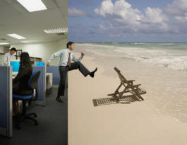 concept picture of bangkok office and thailand beach