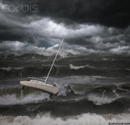 Picture of sailboat in violent storm