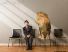 Photo of a lion sitting in a chair next to an anxious asian man