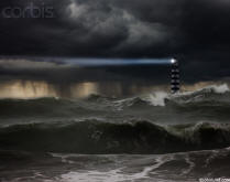 picture of a lighthouse in a storm