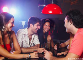 picture of group at bar in disco