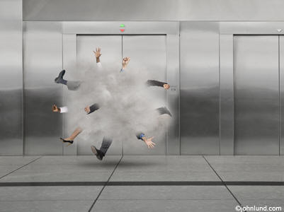 BlendImages - business people fighting in front of an elevator