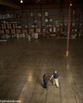 Photo of Handshake in a large warehouse between two men