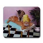 mouse pad custom printed with a picture of the massage cats