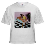 massage cat photograph custom imprinted on tee shirts, T-shirts, and Tees