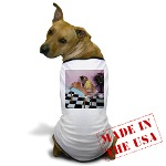 picture of a t-shirt for dogs custom printed with the image of massage cats