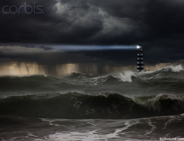 Pictures of a light house in a raging storm with it's beam of light reaching out to warn sailors of danger.