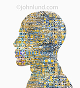 AI, or artificial intelligence, is indicated in this stock photo of complex computer circuitry in the shape of a human head in profile.