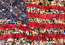 An American flag is juxtaposed or double exposed over a background composed of over two-hundred individual portraits of a diverse populace in this image about social media, immigration issues and demographics.