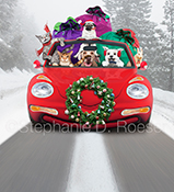 Three dogs, two cats and a bunny cruise down the road in a red convertible filled with gifts and decorated with a Xmas wreath in a funny Christmas Greeting card and stock photo.