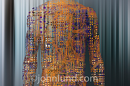 Artificial intelligence has arrived in this stock photo of a human torso created from complex computer circuitry.
