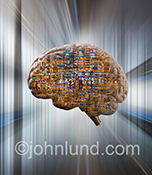Artificial intelligence is shown in computer circuitry seen within a human brain in a stock photo with a futuristic background to compliment the bio-engineering and technology stock photo.