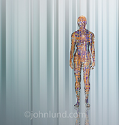Artificial intelligence is shown in this image of computer circuitry in the shape of a human body standing in a futuristic environment.