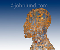 The profile of a man, against a gradated blue background, is filled with a complex and intricate network of computer circuitry symbolizing everything from networking to technology to artificial intelligence and robotics.