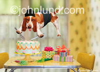 Bassett hound on a mission impossible to steal a birthday cake. He hangs from a cable and holds silverware to snag a slice of cake. There are birthday gifts on the table next to the birthday cake. Funny birthday card pictures.