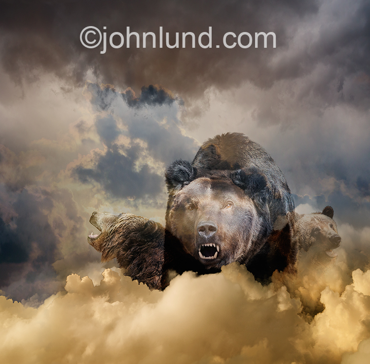 Three bears emerge ominously from clouds in this dramatic concept photo about bear markets and the risks,challenges, dangers and pitfalls of online investing.