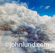 Big data in the cloud is represented in this delightfully abstract and richly layered image of things and technology in a stylized cloud.