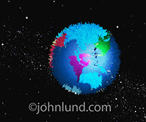 A globe representing the planet earth is transformed into a big data graphic stock photo illustrating world wide big data issues.