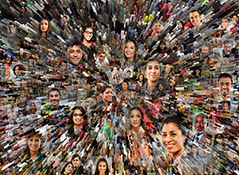 Big data and social media merge in this stock photo of hundreds of social media portraits combined with a big data graph.