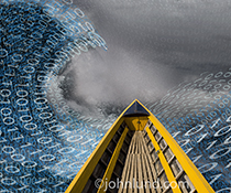 The bow of a boat plunges forward through a big data storm in a stock photo about big data, its handling, collection and management.