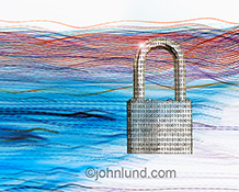 Big Data security is shown in the stock photo of a padlock, etched with binary numbers, and shown in a flow of blue and red light trails representing the transmission of big data.