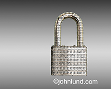 Network and online security are represented in this stock photo of a padlock etched with binary numbers and shown against a gradated grey background.