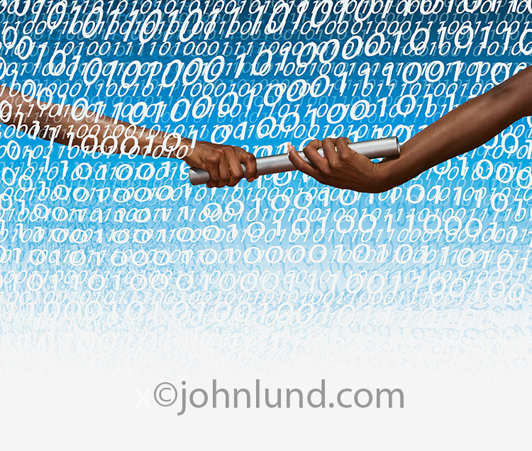 A baton is passed from one woman to another through a mass of binary numbers in a stock photo about networking, teamwork, success and connections.