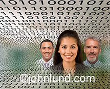 Binary teamwork is represented in this stock photo of two men, lead by a woman, surrounded by binary numbers simulating networking, cloud computing, and communications technology.