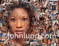 A black woman's face is superimposed over smaller portraits of over two hundred community members in a social networking picture.
