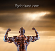 Photo of a bodybuilder covered in circuitry flexes his muscles in a display of the power of technology.