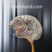 Picture of a human brain in a high tech environment with brain activity illustrated through colored streaks of light.