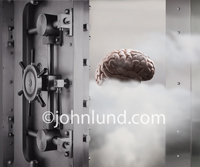 Intellectual property protection is the primary theme of this image of a human brain safe and secure in a bank vault.