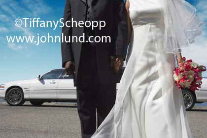 Picture of a newlywed couple standing in front of a limousine holding each others hand. Dark tux on the groom. The photo is cropped so you only see from just below the shoulders to below the knees. Pretty white wedding gown.