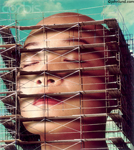 Picture of an Asian woman's face surrounded by scaffolding as though her face is under construction with thousands of tiny workers.