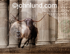 Bull and bear markets are represented by this image that superimposes both a bear and a bull over fluted columns that indicate wall street and architectural shapes that further reference the business and financial world.