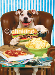 A bulldog holds a TV remote and a dagwood sandwich, a huge poor boy, a submarine and sits in an overstuffed chair in a funny dog pix. Picture of dog eating human food.