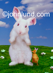 A bunny and a baby duck (wearing fake rabbit ears) standing on a grassy hill in an Easter theme. Really silly animal pics.