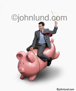A Business Man rides a bucking piggy bank in a picture illustrating the ups and downs of the financial markets and investments.