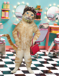 An orange cat stands in a beauty salon wearing a necklace and hat and talking towards the camera in a funny greeting card photo.