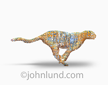 Fast technology is represented by this stock photo of a sprint cheetah created from computer circuitry in an image about speedy connections, fast networks, and new technology.