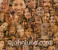 Issues around social media and technology are illustrated in this stock photo of social media portraits multiple exposed with computer circuitry combining social media with technology.