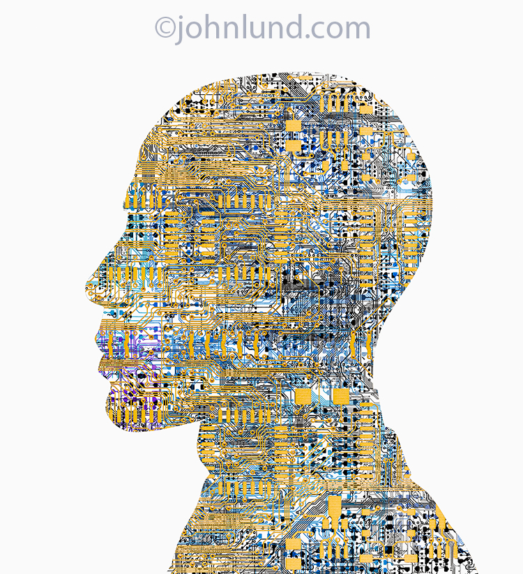 "This ""circuit head"" stock photo is a visual metaphor for AI or artificial intelligence, technology, robotics and bioengineering."