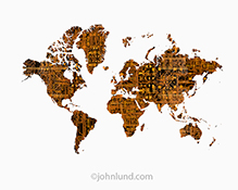 Technology, communications, and connections are all shown in this stock photo of a global map of the continents over layed with computer circuitry and shown on a white background.