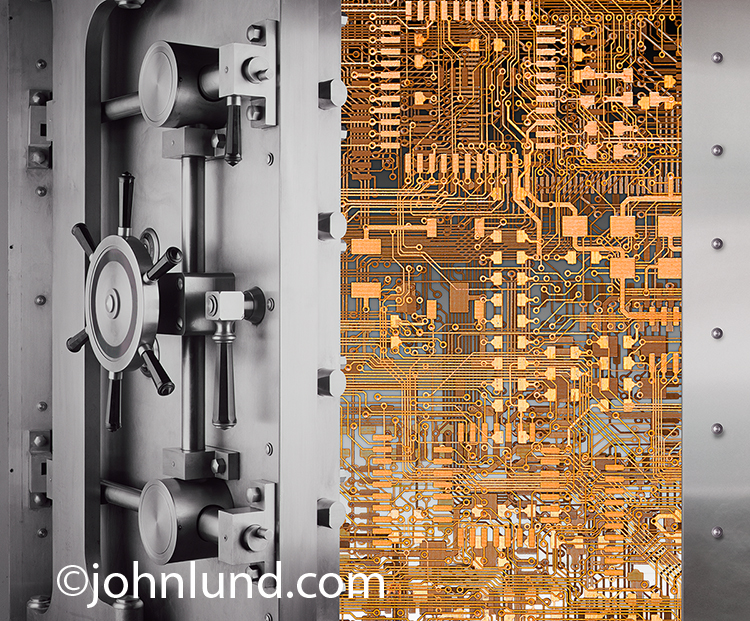 Online security and protection from hackers are the concepts shown in this stock photo of complex computer circuitry seen inside of a bank vault.