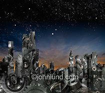 A silhouetted city skyline is filled with gears in a metaphorical image of a city at work, a city that knows how.