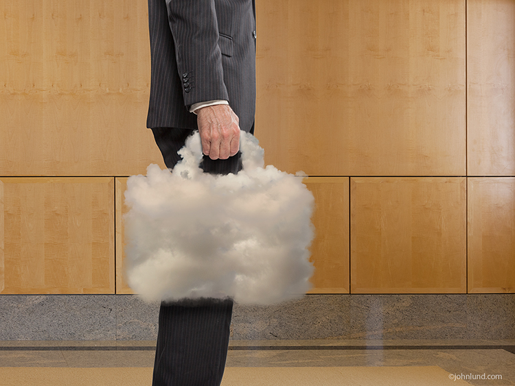 "A businessman with a cloud in hand, a cloud taking the form of a briefcase, is a metaphor for the fact that when you have ""The Cloud"" you have total mobility and can conduct business anywhere anytime."
