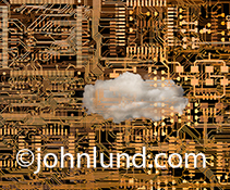 A cloud in a circuit board is a metaphor for cloud computing, networked computing, and Internet connections in this digital age.