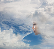 A woman's face appears in the clouds and she purses her lips and blows away the clouds revealing a summer-blue sky and better times ahead.