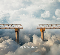 A bridge creates a challenge when a section of the roadway is missing in an image about the risks and pitfalls of cloud computing, online  networking and Internet connections.