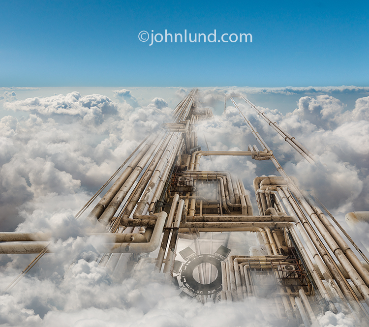 Cloud computing infrastructure is illustrated in this image of a complex set of pipes half-hidden in high altitude clouds.